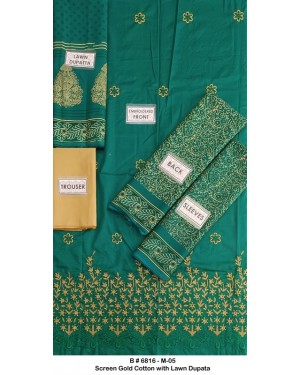 Screen gold embroidered cotton D-06