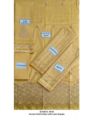 Screen gold embroidered cotton D-07