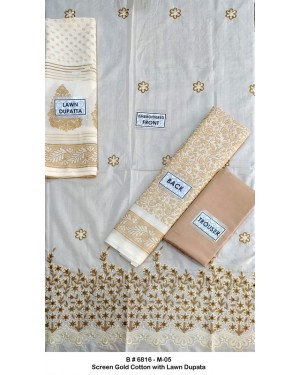 Screen gold embroidered cotton D-08