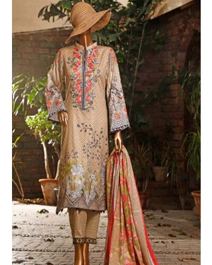 HZ Diamond Embroidered Lawn With Printed Lawn Duppata D-03