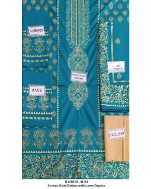 Screen Gold Embroidered Cotton D-04