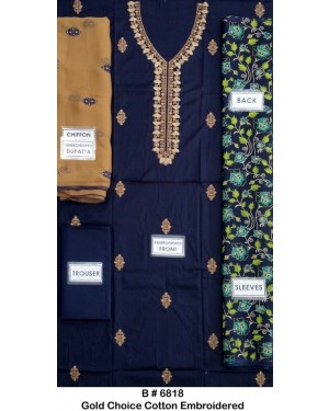 Gold Choice Cotton Embroidered Original D-6818-03