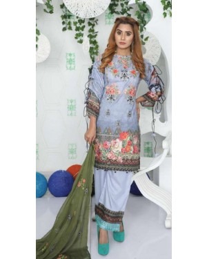 Fiza Minahil Luxury Lawn Embroidered'20 D#02
